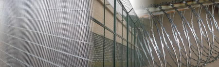 Prison Mesh with Crossed Razor Wire Tapes